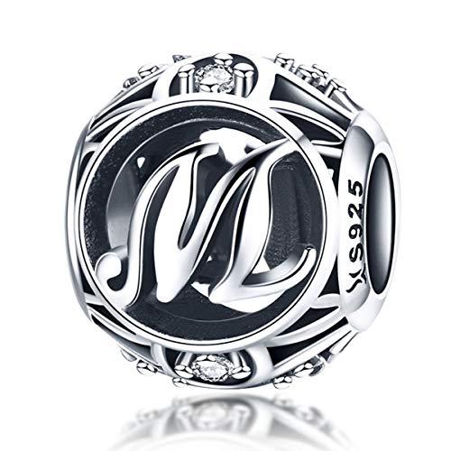 Alfabeto lettera iniziale A-Z Charms fit Pandora Bracciali europei Perline affascinanti in argento sterling 928 per le donne Lettera M