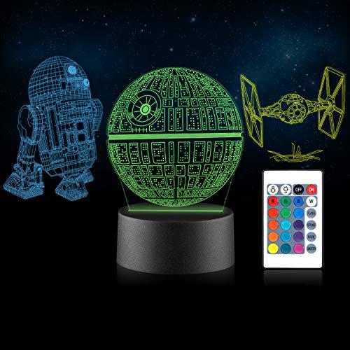 3D LED Star Wars Nachtlicht Xpassion Illusion Lampe Drei Muster und 16 Farbwechsel Dekor Lampe - perfekte Geschenke für Kinder und Star Wars Fans [Energieklasse A+]