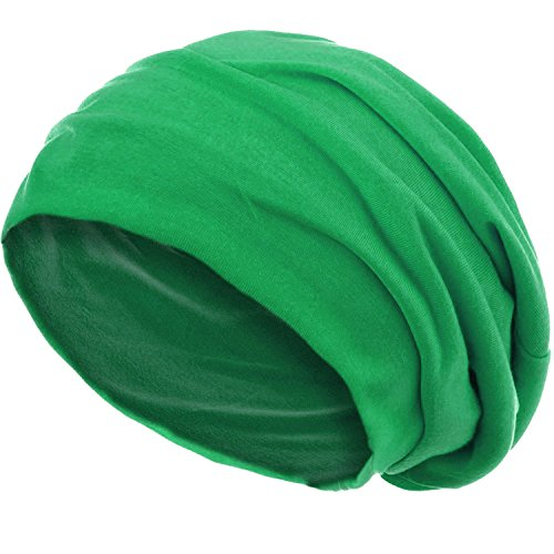 style3 Slouch Beanie aus atmungsaktivem, feinem und leichten Jersey Unisex Mütze Haube Bini Einheitsgröße, Farbe:Grün