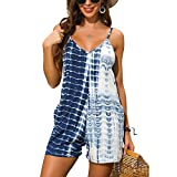 IyMoo Sexy Jumpsuits for Women - Summer Sexy Rompers Spaghetti Strap V Neck Jumpsuit Wide Leg Shorts One Piece Outfits Blue