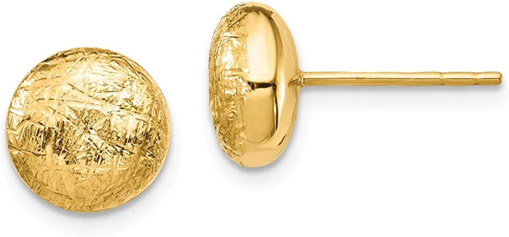 14k Yellow Gold Scratch Finish Post Stud Earrings Ball Button Fine Jewelry For Women Gifts For Her