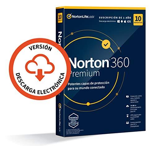 Norton 360 Premium 2021 - 10 Dispositivos, 1 Año, para PC/Mac, Código de activación enviado por email