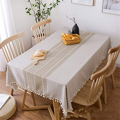 DJUX Cotton and Linen Tablecloth Literary Coffee Table Table Cloth Rectangular Small Fresh Pure Color Garden Tablecloth 140x180cm