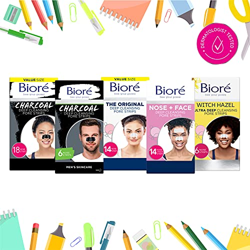 Bioré Original, Deep Cleansing Pore Strips, 8 Nose Strips for Blackhead Removal, with Instant Pore Unclogging, features C-Bond Technology, Oil-Free, Non-Comedogenic Use