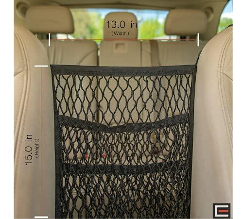 Road Trip Car Mesh Organizer Between Seats, Front Gap Filler, Extra Storage Space, Dog Barrier, Purse Holder, Divider for Kids, Cargo Back Net Bag 2-Elastic Pocket, SUV Taxi Rideshare Women Accessory