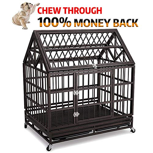 Haige Pet Your Pet Nanny 42'' Roof Heavy Duty Dog Cage Kennel Crate Steel Strong Metal for Medium...