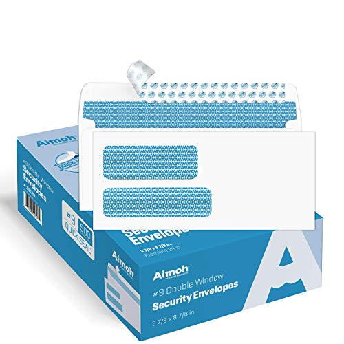 500#9 Double Window SELF Seal Security Envelopes - for Invoices,...