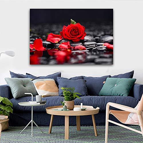 LOIUYT Rosa roja flor lienzo pintura impresa decoración de pared Giclee impresión de pared barato pintura de pared CuadrosDecoración arte 50x70cm