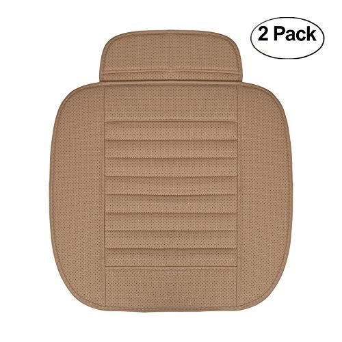 HCMAX Vier Jahreszeiten Atmungsaktiv Car Interior Sitzkissen Abdeckung Pad Matte PU-Leder Bambus-Kohle - 2 Packung Vordersitzbezug