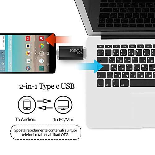 POHOVE USB C Speicherstick 128gb, Mini USB Stick 128gb 2-in-1 Type C USB 2.0 Flash Drive 128 GB Für Samsung, Huawei, Xiaomi, Oneplus, Android Handy, PC, Laptop, Tablet Usw