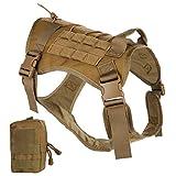nobrand Arnés de perro táctico militar arnés de perro de trabajo chaleco Molle chaleco de entrenamiento ajustable Patrol K9 arnés con asa y una bolsa MOLLE. (L, caqui)