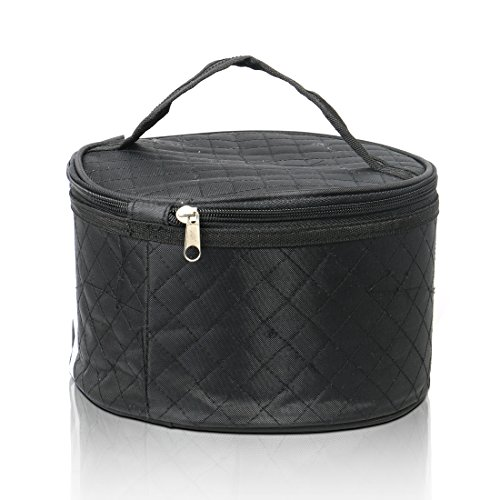 Travel Case for Wigs, Black Quilted Nylon with Interior Mirror, Zipper, Double Stitching, Lightweight & Portable Wig Pouch by Adolfo Design