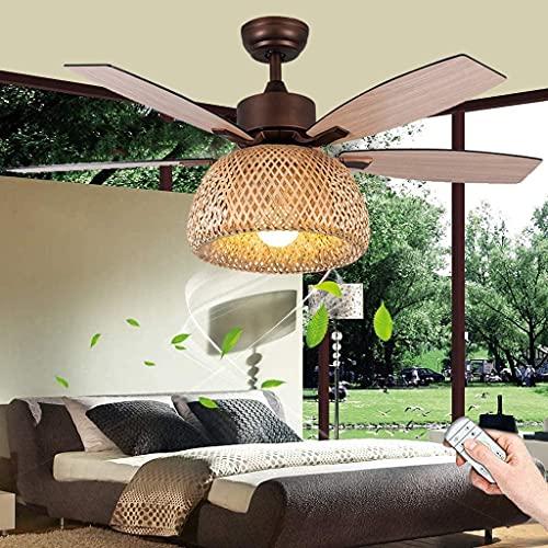 YUnZhonghe Ventilador de techo de 52 pulgadas con iluminación Vintage E27 Ventilador Luz de techo Luz Moderna Lámpara de viento Ajustable Velocidad del viento con control remoto Lámpara de techo Dormi