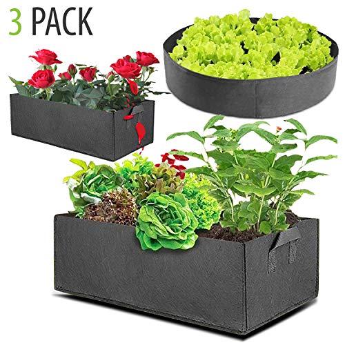 Herbay Fabric Raised Garden Beds - 3 Pack Premium Garden Grow Bags with Handles for Vegetables, Fruits, Garden Plants - 2 X Rectangle 10 Gallon Grow Bags & 1 X Round 5 Gallon Grow Bag