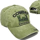 Cultural Exchange Combat Engineer Tonal Pigment Washed Cotton Mens Cap [Green - Adjustable]