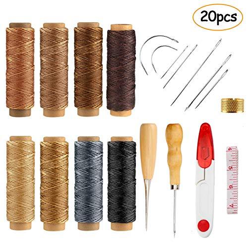 Scoolr - Juego de 20 agujas de coser de piel encerada para manualidades, 8 colores, 274 m, hilo encerado de cuero 150D con herramientas de mano de cuero para costura y manualidades de cuero