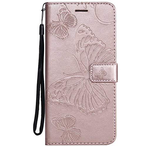 DENDICO Cover Galaxy J6 Plus, Pelle Portafoglio Custodia per Samsung Galaxy J6 Plus Custodia a Libro con Funzione di appoggio e Porta Carte di cRossoito, Modello di Farfalla - Oro Rosa