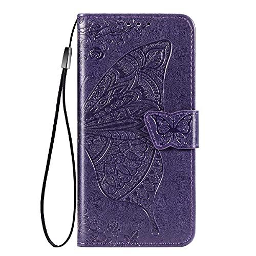 YIKLA Hülle für Samsung Galaxy A22 4G, Schmetterling PU/TPU Leder Flip Folio Tasche Handyhülle, mit [Kartenfach] [Magnetverschluss] Standfunktion Brieftasche Handy Cover, Dunkelviolett