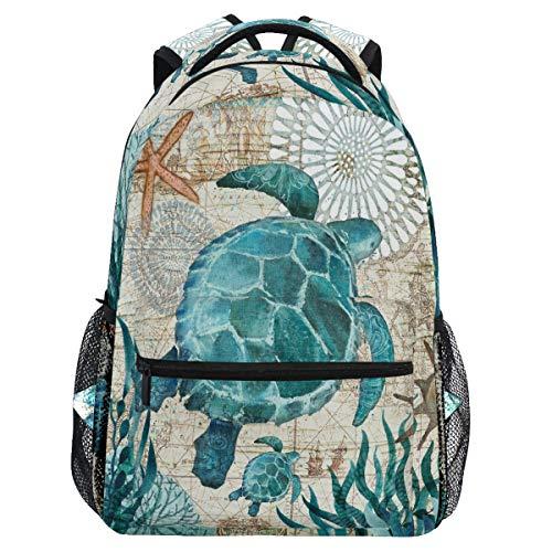 Vdsrup Vintage Turtle Backpack for Girls Kids Boys Ocean Sea Starfish World Map School Book Bag Waterproof Student Laptop Backpacks College Carrying Bags Casual Durable Lightweight