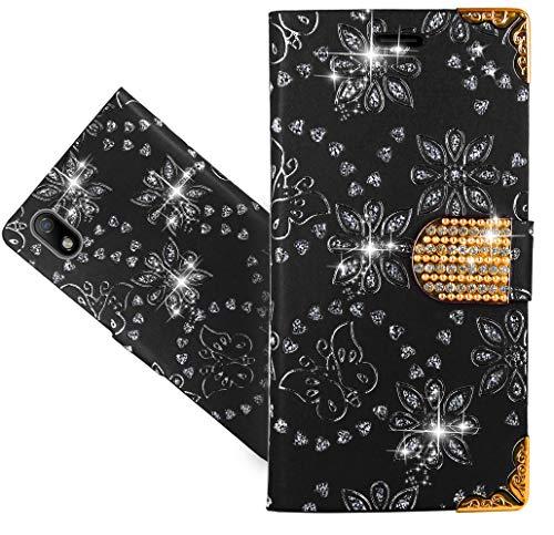 CaseExpert ZTE Blade A7 (2019) Handy Tasche, Wallet Case Cover Flower Bling Diamond Hüllen Etui Hülle Ledertasche Lederhülle Schutzhülle Für ZTE Blade A7 (2019)