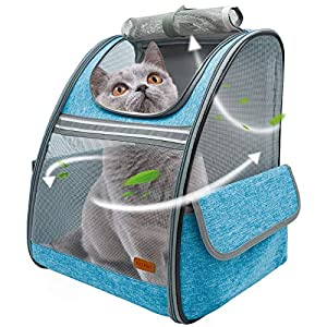 BELPRO Cat Backpack Carrier, Small Pet Dog Backpack Carrier for Small Dogs Puppies with Ventilated Design, Airline Approved, Collapsible | for Travel, Hiking, Outdoor(Blue)