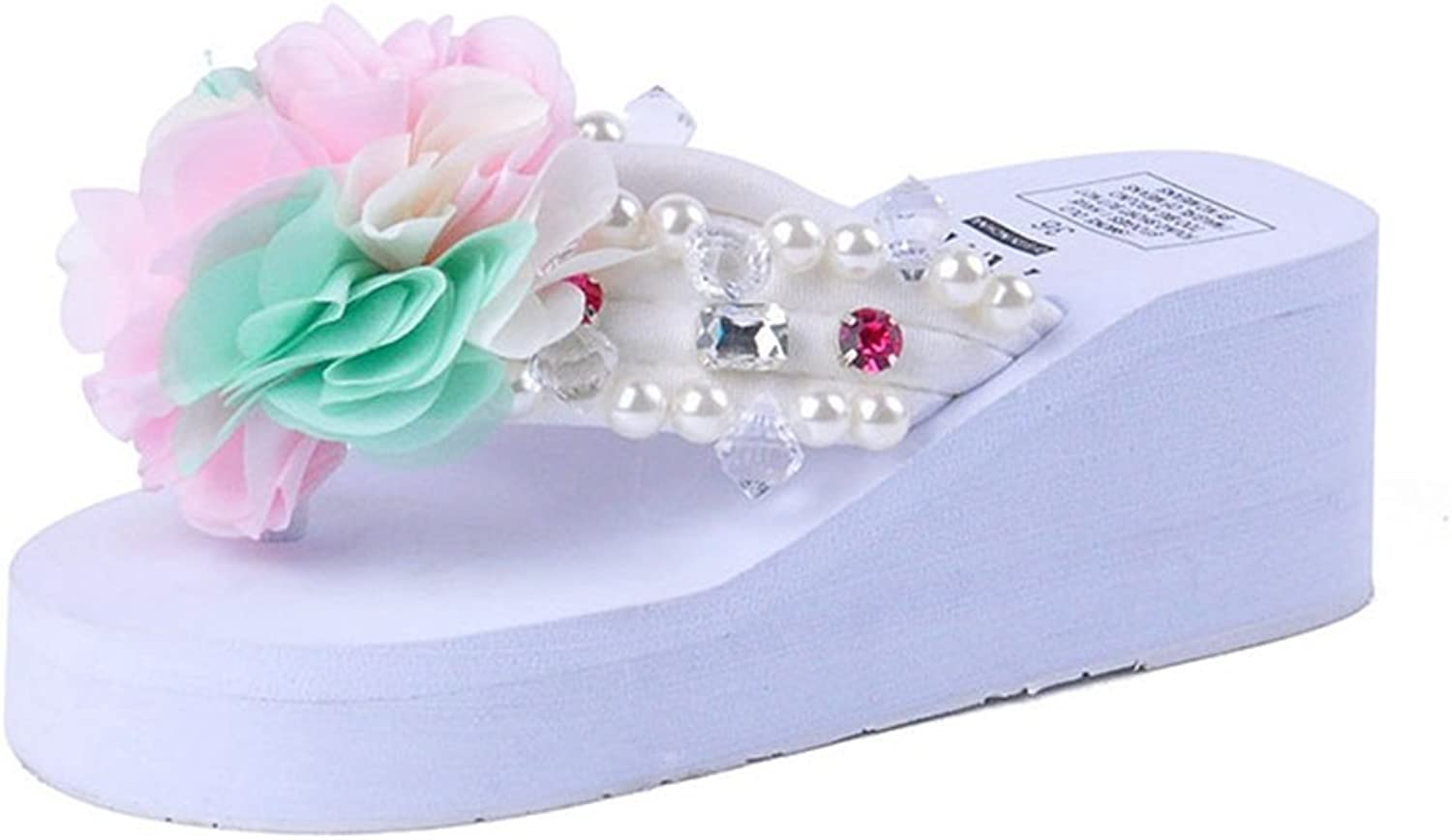 U-MAC Womens Flip Flop Thongs Wedge Sandals Rhinestone Mid Heel Flower Summer Beach Slippers