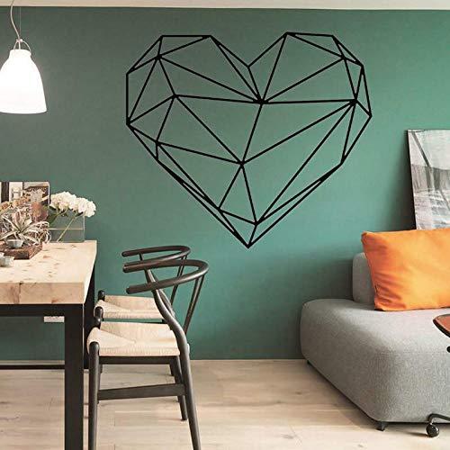 Etiqueta engomada de la pared del patrón de cristal del corazón geométrico arte creativo etiqueta de la pared del dormitorio accesorios de decoración del hogar extraíbles A1 42x47cm