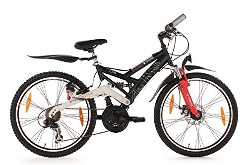KS Cycling Kinderfahrrad Mountainbike 24'' ATB Fully 4Masters schwarz RH 42 cm