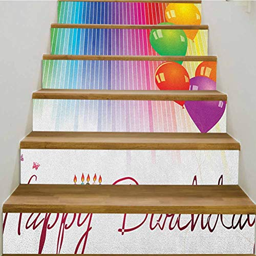 3D Birthday Self-Adhesive Stair Riser Decal,Rainbow Colored Striped Backdrop Balloons Stylized Lettering Candles Artwork Prit Staircase Decals Mural Decor Wallpaper,39.3'w x 7'h x6pcs/1 Set,Multicolor