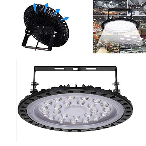 Sararoom 100w Lampada UFO LED Illuminazione da Industriale Faretto Impermeabile IP67 6000K 15000LM Bianco freddo Per Giardino Cortile Terrazza Piazza Fabbrica