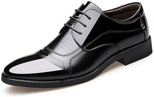 GLSHI Chaussures Formelles pour Les Hommes de Mariage de Bureau et carrière Dress noir marron