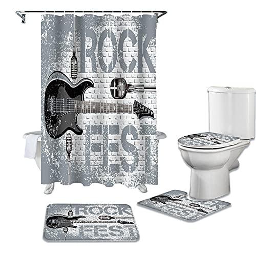 HGFHKL Rock Guitar Music Cortina de Ducha Impermeable Cubierta de Alfombra Alfombra de baño Antideslizante Cubierta de Inodoro Cortina de Ducha de baño