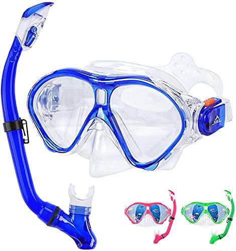 SKL Taucherbrille mit Schnorchel Schnorchelset Kinder Tauchset aus Gehärtetem Glas Anti-Leck Anti-Fog, ideal für Tauchen, Schnorcheln und Schwimmen, Kinder Blau