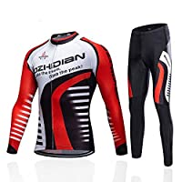 PTELEA ファッション古典外側は長袖のスーツをサイクリング秋のすべての種類のための自転車 自転車ジャージー (Color : Red, Size : XL)