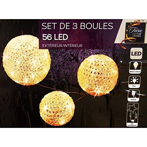 Féerie Lights et Christmas Lot 3 Boules 56 LED Blanc Chaud