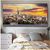 A&D Istanbul Wandbilder Leinwand Malerei Kalligraphie Dekor Bilder Gemälde für Wohnzimmer Schlafzimmer Wanddekorkunst-60x120 cm Kein Rahmen