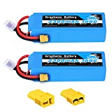 YOWOO 2 Pcaks 14.8V 3300mAh 100C 4S RC Graphene Battery with XT60 and Deans T/Traxxas Connector Lipo Battery for RC Airplane Heli Airplane Car Truck Boat UAV Drone FPV Quadcopter