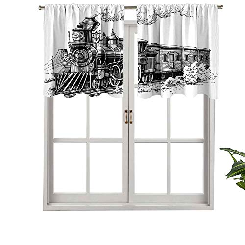 """Hiiiman Extra Short Valance Thermal Insulated Window Curtains Rustic Old Train in Country Locomotive Wooden Wagons Rail, Set of 1, 54""""x18"""" Home Decorative Panels for Bathroom"""