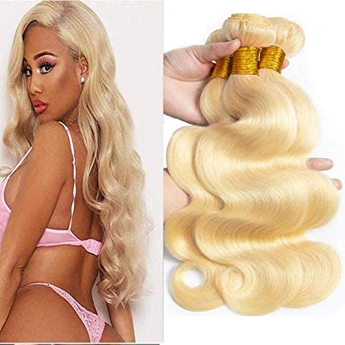 613 Bundles Blonde Bundles 9A Grade Brazilian Body Wave 3 Bundles 18 20 22 inch Blonde Human product image