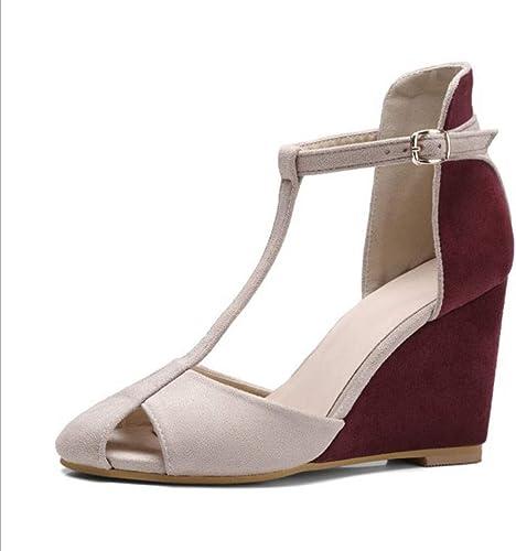 Sandales pour pour Femmes, personnalités européennes et américaines Baotou HolFaible Sandals Slope d'été pour Femmes avec Chaussures pour Femmes Mat T-Word with Wild (Couleur   rouge, Taille   36)  les dernières marques en ligne