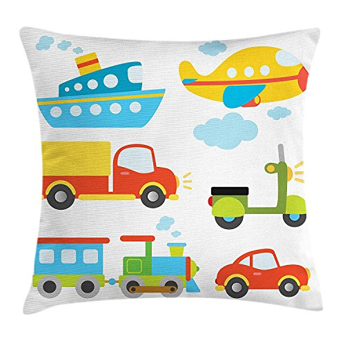 FAFANI Boy's Throw Pillow Cushion Cover, Abstract Transportation Types for Toddlers Car Ship Truck Scooter Train Aeroplane, Decorative Square Accent Pillow Case, 18 X 18 Inches, Multicolor