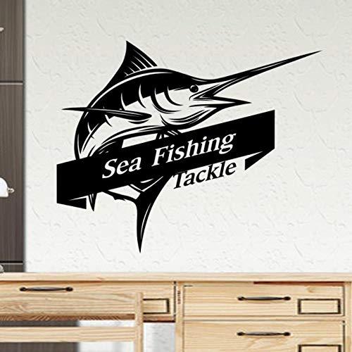 artaslf Aparejos de pesca en el mar Pez espada Marlin pegatina calcomanía cubo aparejos tienda anzuelo pegatina pecera caja de barco coche vinilo 80x99cm
