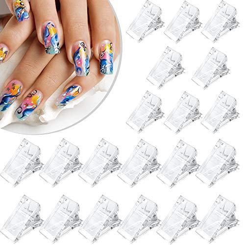 20 Stück Kunststoff transparente Poly-Nagelspitzen Clip, schnelle Nagelspitzen Finger Clip für Nagel Verlängerung, Nagelkunst Klemmen