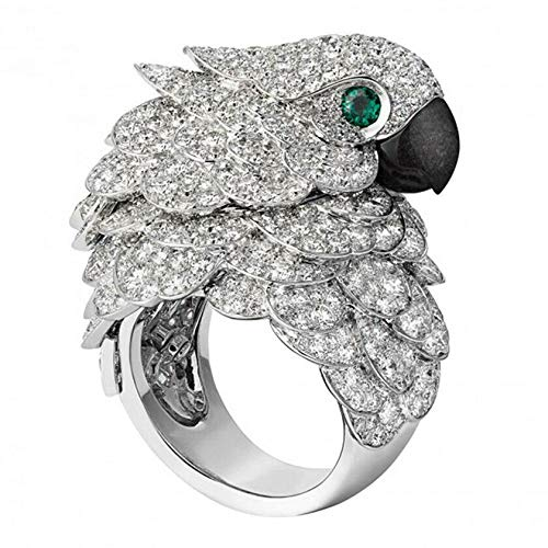 LIZA SHOP 925 Silver 8.6CT White Topaz&Emerald Eagle Parrot Ring Wedding Jewelry (9)