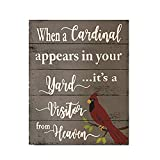 LOUISF When A Cardinal Appears in Your Yard Its A Visitor from Heaven Sign Bereavement Memorial Day Plaque Funeral Gift Yard Art