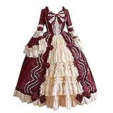 Briskorry Vestido medieval para mujer, estilo gótico, steampunk, estilo victoriano, rococó, ajustado, para fiestas, años 50, retro, vestido de princesa, falda plisada, rojo, XL