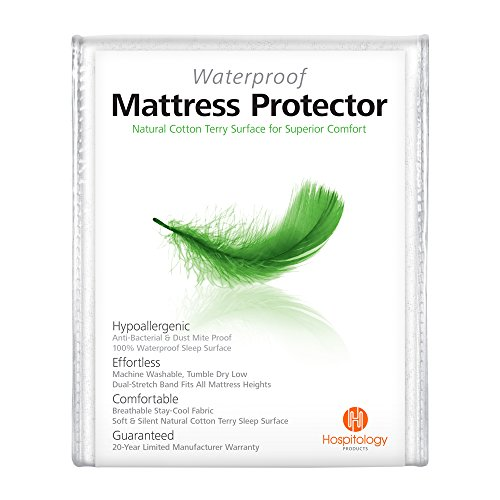 HOSPITOLOGY PRODUCTS Mattress Protector Natural Cotton Terry Sleep Surface - Full/Double - Waterproof - Hypoallergenic - 20-Year Warranty - Fitted Mattress Cover - Machine Washable - 54' W x 75' L