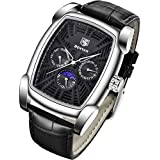 BENYAR Watch for Men Date Week Moon Phases Square 3ATM Waterproof Black Leather Fashion Casual Classic Retro Rectangle Men's Wrist Watches Perfect Gifts for Friend