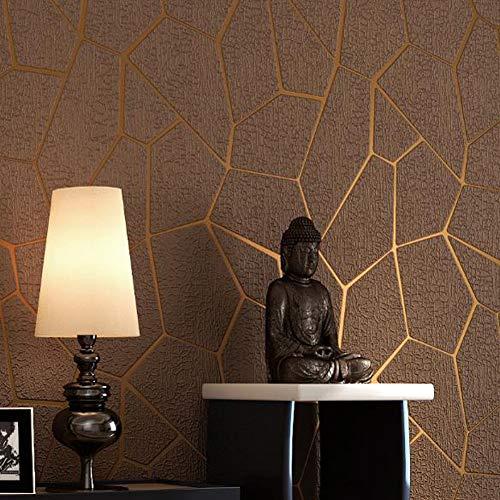 YuYaX Wallpaper Tapete Beflockung Vlies Moderne Minimalistische Tapete Für Wohnzimmer Hotels Korridor TV Sofa Hintergrund Wand, Bronze
