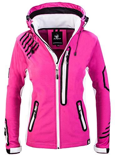 Rock Creek Damen Softshell Jacke Windbreaker Regenjacke Übergangsjacke Softshelljacke Damenjacke Regenmantel Outdoorjacke Kapuze D-402 Pink...